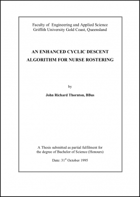 Nurse rostering thesis, Research publications, John Thornton title page