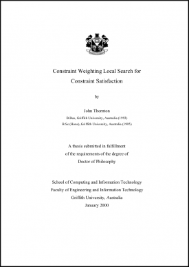 Constraint Satisfaction and Satisfiability, Research publications, PhD Thesis John Thornton title page